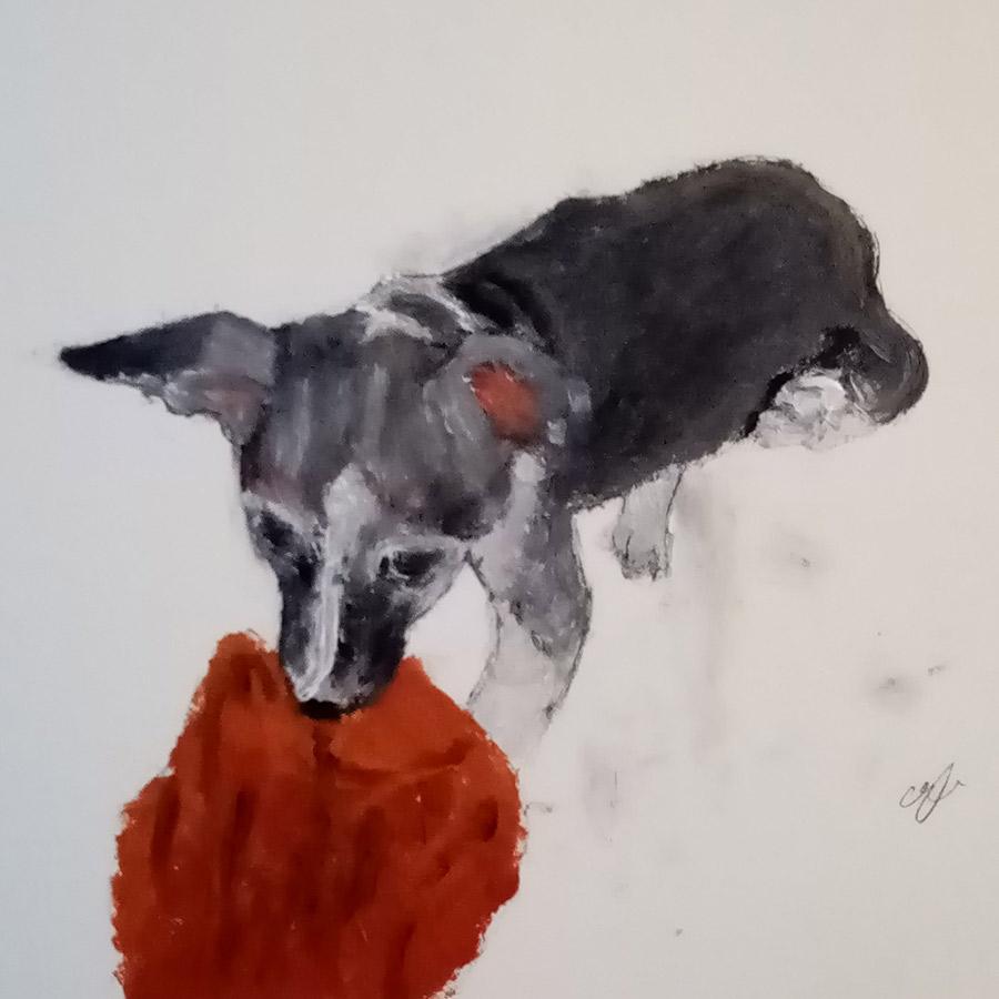 petit chien, peinture huile sur toile