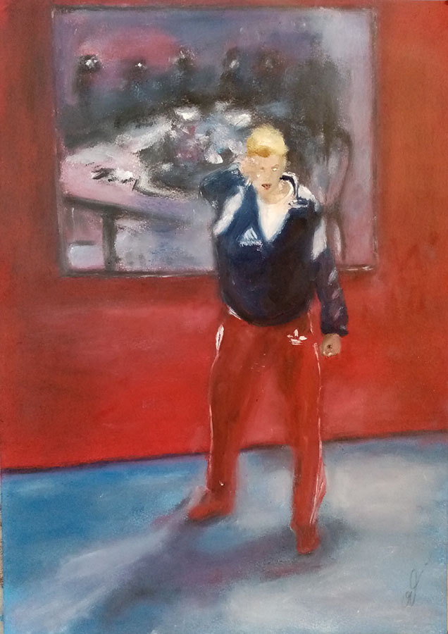 """Low Air Vilnius, ""MeTwo"", at Kaunas Picture Gallery"", huile sur papier, 29,7x42 cm, Kaunas 2021"