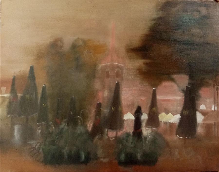 """""""Romantic Lithuania"""", huile sur papier, 65x50cm, Kaunas 2021"""