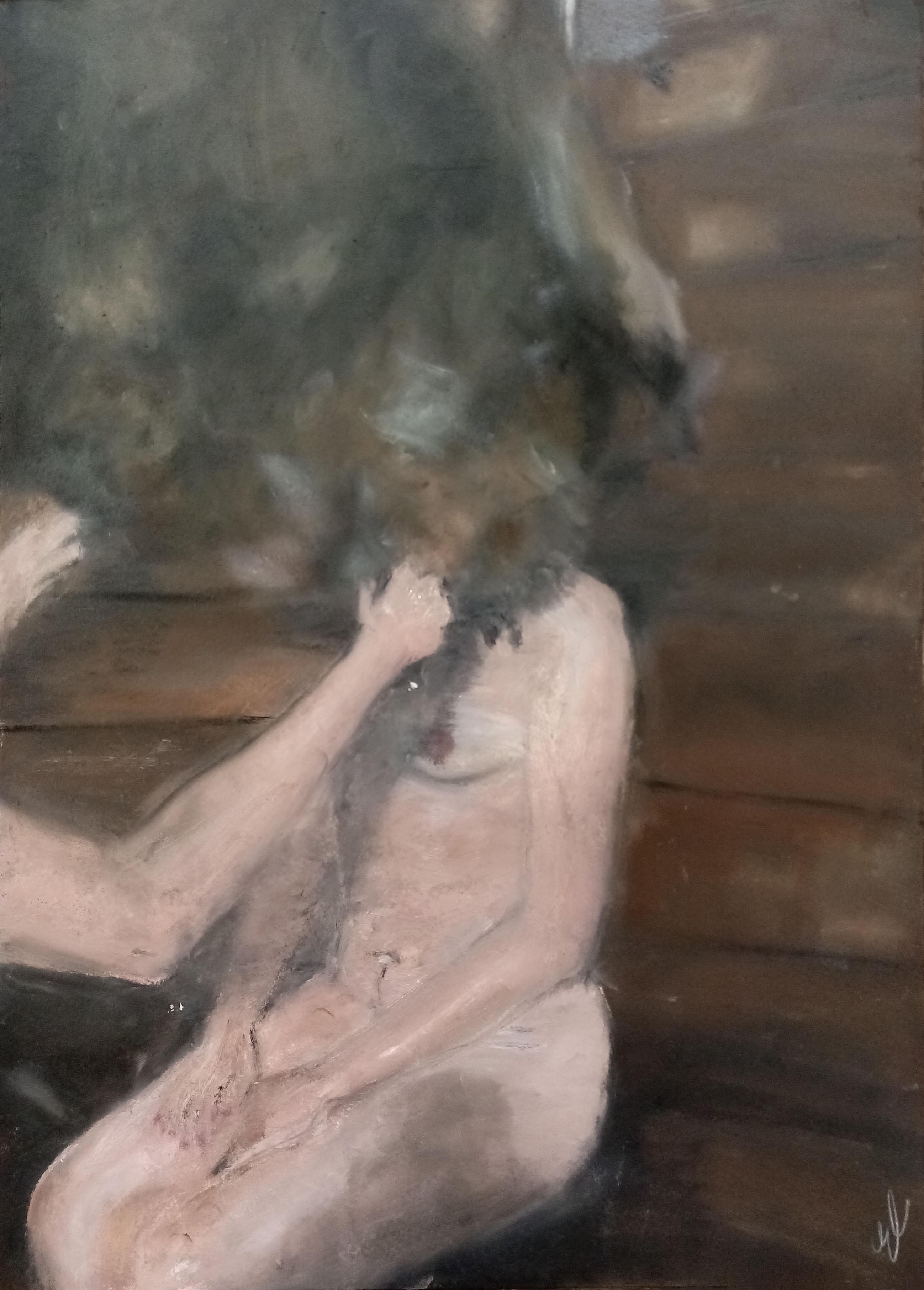 """The Sauna 2"", huile sur papier, 29,7x42 cm, Kaunas 2021"
