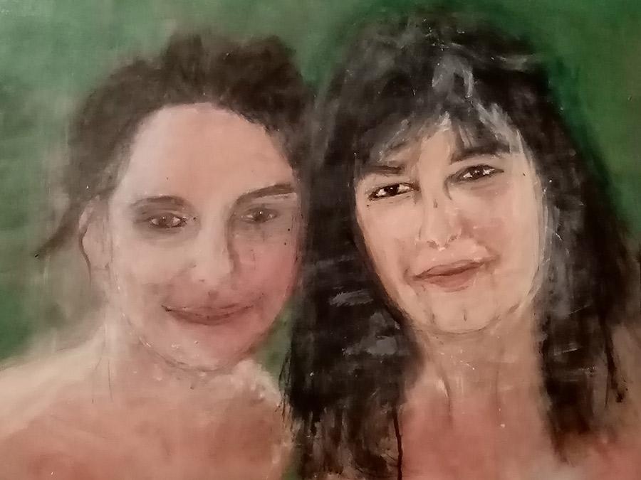 """Nathalie"""" technique mixte sur toile 46x65cm mars 2020"""