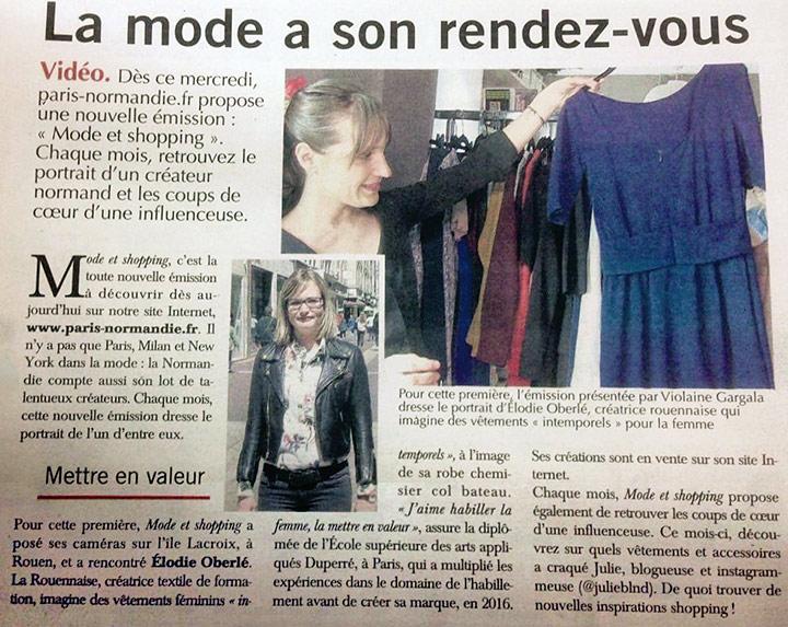 Article Paris Normandie pour Elodie Oberlé